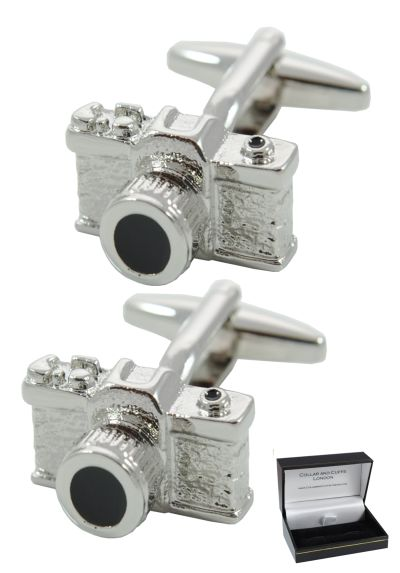 PREMIUM Cufflinks WITH PRESENTATION GIFT BOX - High Quality - SLR Camera - Solid Brass - Perfect For Photography Lovers - Wedding Cufflinks - Reflex Photo Film Shutter - Silver Colour Men's Cufflinks