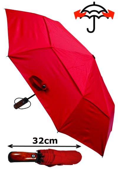Windproof 50mph StormDefender - Reinforced Fiberglass Frame - Vented Canopy - Strong Compact Small Folding Waterproof Umbrella - Auto Open and Close - Candy Red