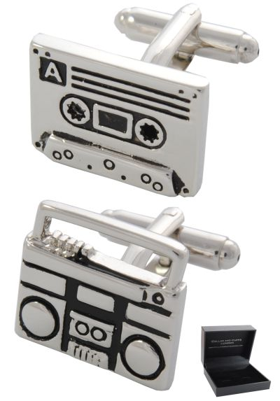 PREMIUM Cufflinks WITH PRESENTATION GIFT BOX - High Quality - Retro Cassette Tape and Player - Solid Brass - Music Deck Radio DJ Recorder - Silver and Black Colours