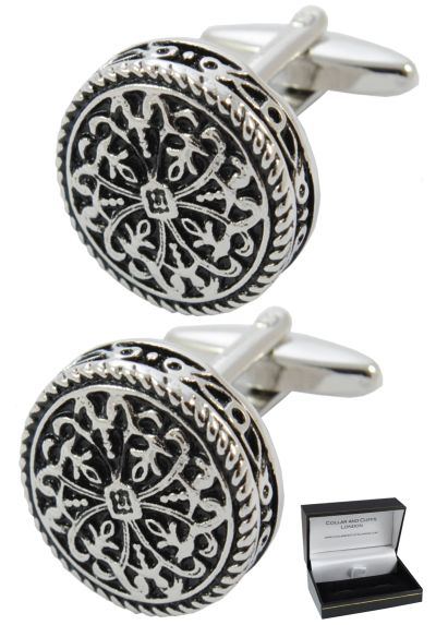 PREMIUM Cufflinks WITH PRESENTATION GIFT BOX - High Quality - Antique-Style Celtic Design - Brass - Round Cross Design - 20mm Diameter - Silver and Black Colours