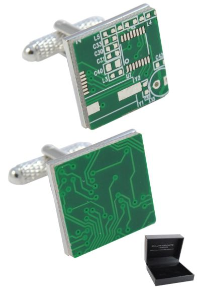PREMIUM Cufflinks WITH PRESENTATION GIFT BOX - High Quality - Circuit Board - Brass - PC Computer IT Electric Technology - Green and Silver Colours