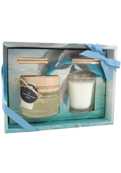 THE LONDON FRAGRANCE STORE - Ocean Waves - Luxury Scented Candle + Reed Diffuser Set - Quality Fragrance Oil - Citrus Mist and Green Tea - Our Clever Wax Formula Lasts Longer - Quality Cotton Candle Wick