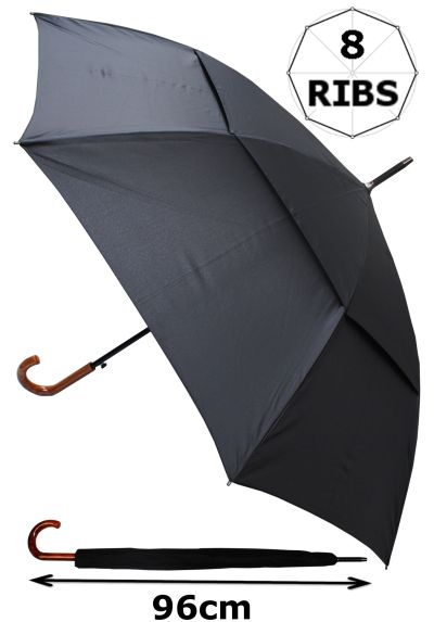 Windproof Extra Strong - StormDefender City XL Umbrella - Vented Double Canopy - Highly Engineered to Combat Inversion Damage - Auto Open - Wood Effect Hook Handle - Black