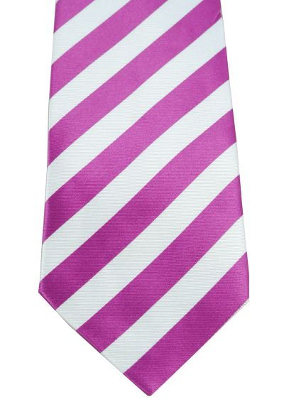 HIGH QUALITY Handmade Woven Tie - Striped - 100% Pure Silk - Classic Wide Stripes Design - Claret Red and White