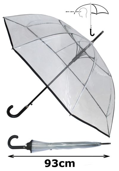 Windproof 60MPH EXTRA STRONG - StormDefender Clear Canopy Large Umbrella - 110cm Diameter - Reinforced Fiberglass Frame - Wedding Umbrellas - Leather Style Hook Handle - Automatic Clear Umbrella