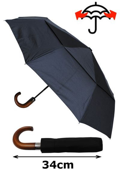 80KPH 9 Rib STRONG Reinforced WINDPROOF Frame With Fiberglass Umbrella - Vented Double Canopy - Wooden Hook Handle - Solid Wood - Compact - Auto Open & Close - Black