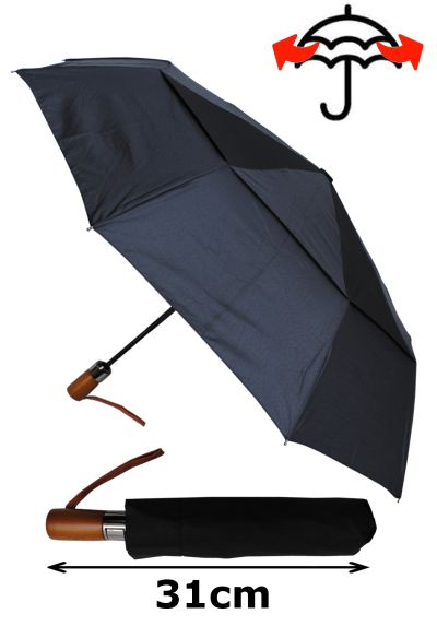 80KPH 9 Rib STRONG Reinforced WINDPROOF Frame With Fiberglass Umbrella - Vented Double Canopy - Wooden Straight Handle - Compact - Auto Open & Close - Black