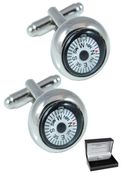 PREMIUM Cufflinks WITH PRESENTATION GIFT BOX - High Quality - Mini Magnetic Compass - Brass - White Round Face - Fully Rotating Compass - Silver Coloured Exterior