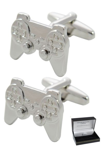 PREMIUM Cufflinks WITH PRESENTATION GIFT BOX - High Quality - Fun Game Console Controller Cufflinks - Cufflinks For Men - Solid Brass - Silver Colour