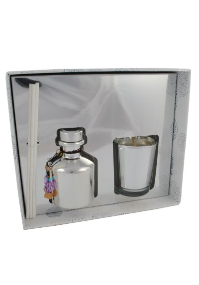 THE LONDON FRAGRANCE STORE - Silver Sparkle - Luxury Scented Candle + Reed Diffuser Set - High Quality Fragrance Oil - Clean Crisp Cotton - Clever Wax Formula Lasts Longer - Quality Cotton Candle Wick