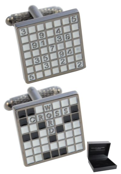 PREMIUM Cufflinks WITH PRESENTATION GIFT BOX - High Quality - Sudoku and Crossword Puzzle - Brass - Game Numbers Words Letters - Silver Black and White Colours