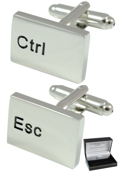 PREMIUM Novelty Cufflinks WITH PRESENTATION GIFT BOX - High Quality - Ctrl Esc Computer Keyboard - Solid Brass - Rhodium Plated - Cufflinks For Men - IT PC Key Rectangle Oblong Modern - Silver Colour