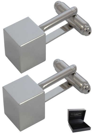 PREMIUM Cufflinks WITH PRESENTATION GIFT BOX - High Quality - Symmetrical Cuboid - Cube Smooth Square Classic Design - Silver Colour