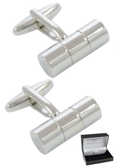 PREMIUM Cufflinks WITH PRESENTATION GIFT BOX - High Quality - Cylinder - Three Section Design - Brass - Classic Tube Design - Circular Cylindrical - Silver Colour