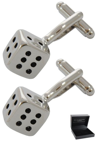 PREMIUM Cufflinks WITH PRESENTATION GIFT BOX - High Quality - Two Die - Dice Casino Games Square Cube - Silver and Black Colours