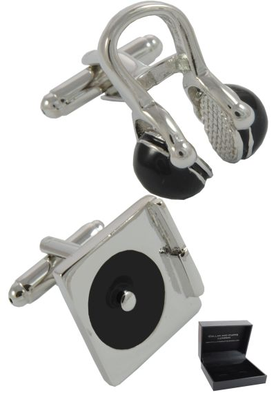 PREMIUM Cufflinks WITH PRESENTATION GIFT BOX - High Quality - DJ Record Turntable and Headphones - Solid Brass - Disc Jockey Music Player - Silver and Black Colours