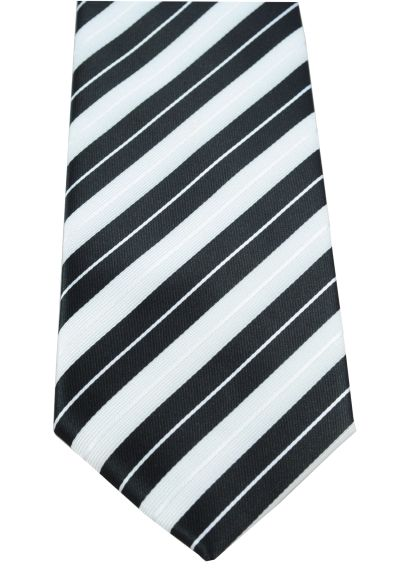 HIGH QUALITY Handmade Tie - Striped - A Timeless Classic - Ebony and Ivory - Black and White Stripes
