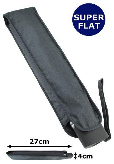 4cm ULTRA FLAT WINDPROOF Umbrella - STRONG Reinforced Frame With Fiberglass - Auto Open and Close - StormDefender Flat - Small Folding Compact Umbrella Travel - Black