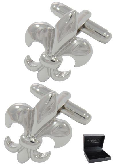 PREMIUM Cufflinks WITH PRESENTATION GIFT BOX - High Quality - Fleur De Lis - Brass - Lys Symbol St Joseph France French Heraldry - Coat of Arms - Silver Colour