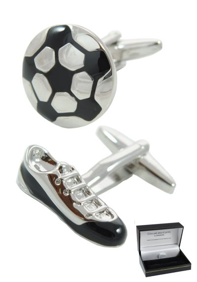 PREMIUM Novelty Cufflinks WITH PRESENTATION GIFT BOX - High Quality - Football and Boot - Solid Brass - Sport Fan Match Game Round Soccer - Silver & Black Colour Designer Cufflinks
