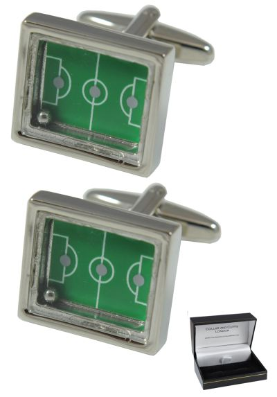 PREMIUM Cufflinks WITH PRESENTATION GIFT BOX - High Quality - Football Pitch With Moving Ball - Brass - Rectangle Sports Fans Match Soccer Game - Silver and Green Colour