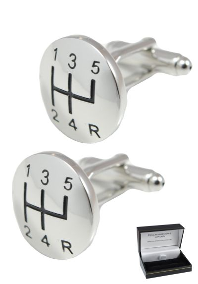 PREMIUM Cufflinks WITH PRESENTATION GIFT BOX - High Quality - Gear Stick With A Domed Face - Perfect For Car Lovers - Brass - Men's Cufflinks - Silver Colour - Round Gear Knob