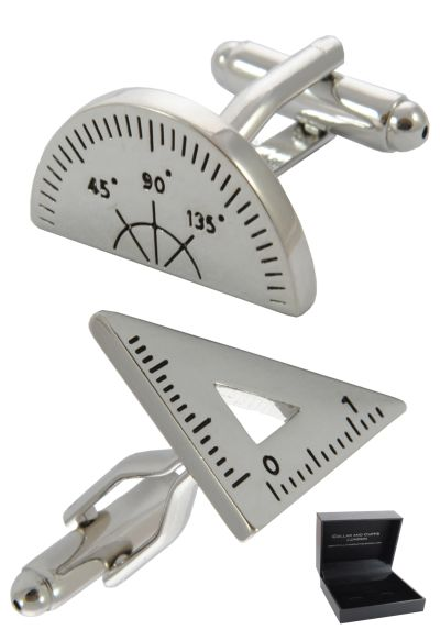 PREMIUM Cufflinks WITH PRESENTATION GIFT BOX - High Quality - Protractor and Set Square Maths Physics - Engineer Teacher - Silver Colour