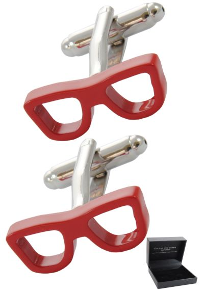 PREMIUM Cufflinks WITH PRESENTATION GIFT BOX - High Quality - Glasses - Spectacles Optician Frame Vision - Red Colour