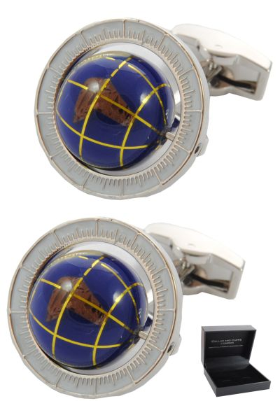 PREMIUM Cufflinks WITH PRESENTATION GIFT BOX - High Quality - Spinning Globe - Travel the World - Round Earth Rotating - Blue Colour