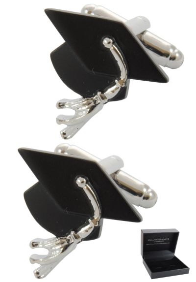 PREMIUM Cufflinks WITH PRESENTATION GIFT BOX - High Quality - Mortar Board - Graduation Degree - University - Uni - Black Colour
