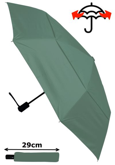 Windproof - COMPACT YET STRONG - Reinforced Frame With Fiberglass - StormProtector Small Folding Umbrella - Vented Double Canopy Regulates Gusts - Auto Open & Close - Grey