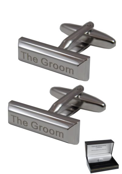 "PREMIUM Cufflinks WITH PRESENTATION GIFT BOX - High Quality - ""The Groom"" Engraved Ingot - A Superb Wedding Gift - Solid Brass - Rectangle - Bridegroom - Silver Colour"