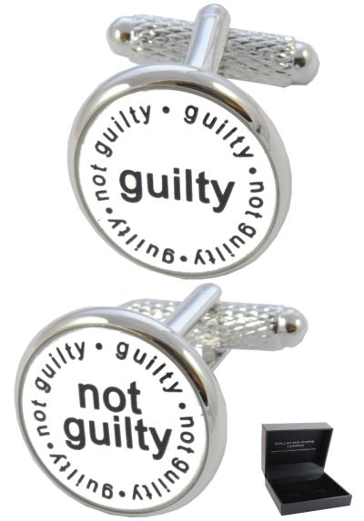 PREMIUM Cufflinks WITH PRESENTATION GIFT BOX - High Quality - Guilty Not Guilty - Ideal for Lawyer Solicitor Judge Barrister - Legal Justice - White, Black and Silver Colours