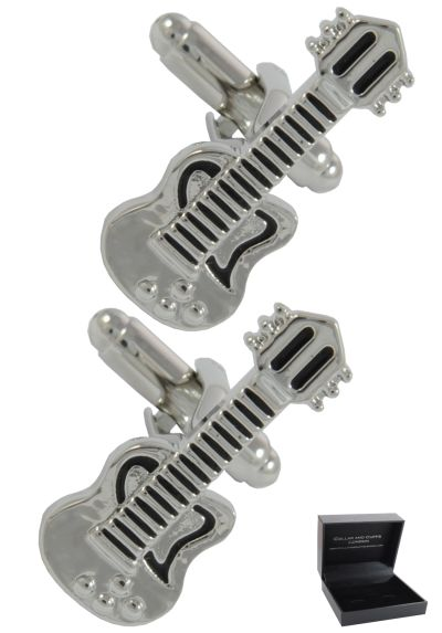 PREMIUM Cufflinks WITH PRESENTATION GIFT BOX - High Quality - Electric Guitar - Solid Brass - Music Musical Teacher Singer Player Band Instrument - Silver and Black Colours
