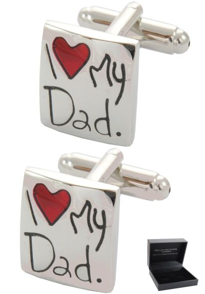 PREMIUM Cufflinks WITH PRESENTATION GIFT BOX - High Quality - I Love My Dad - Heart Square - Silver and Red Colours