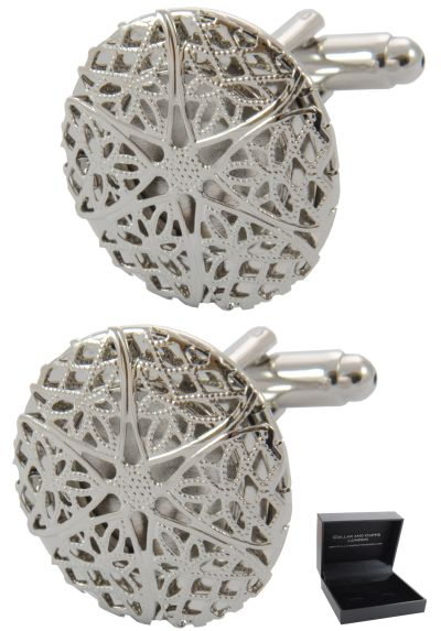 PREMIUM Cufflinks WITH PRESENTATION GIFT BOX - High Quality - Filigree Locket Opening - Art Design Keepsake Round - Silver Colour