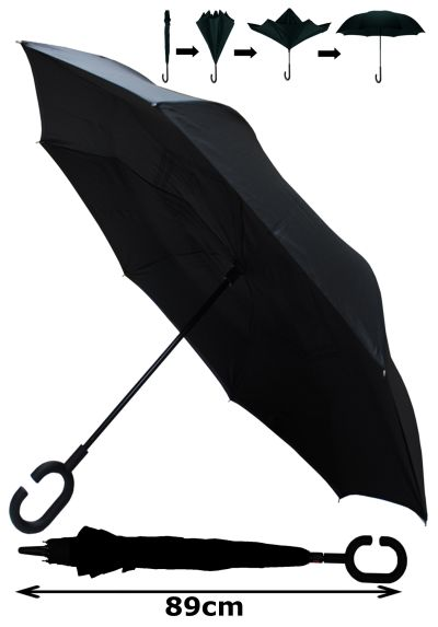 INSIDE OUT Windproof EXTRA STRONG StormProtector StayDry Umbrella - HIGHLY ENGINEERED with Fiberglass - Clever Reverse Design - Rain Stays Inside When Closed - C Handle Black