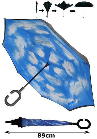 INSIDE OUT Windproof EXTRA STRONG StormProtector StayDry Umbrella - Clever Reverse Design with Fiberglass - Rain Stays Inside When Closed - C Handle Sky Blue, Clouds & Black