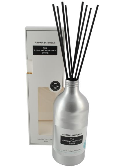 THE LONDON FRAGRANCE STORE - Luxury Reed Diffuser - High Quality Fragrance Oil - Iris and Magnolia Fusion - Our Clever Reeds Deliver Fragrance Longer - Relaxation - Lasts Up To 3 Months - Silver Grey