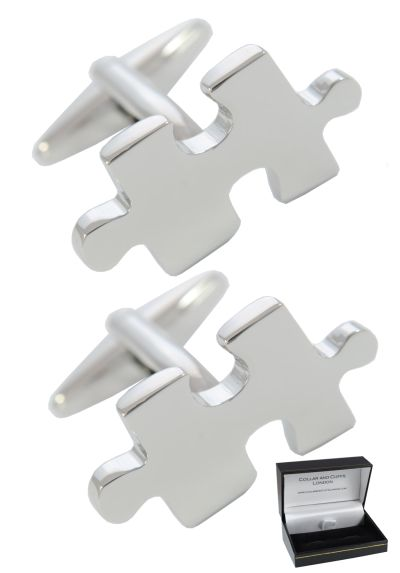 PREMIUM Cufflinks WITH PRESENTATION GIFT BOX - High Quality - Jigsaw Puzzle Pieces - Solid Brass - Hobby Puzzler Mystery Game - Silver Colour