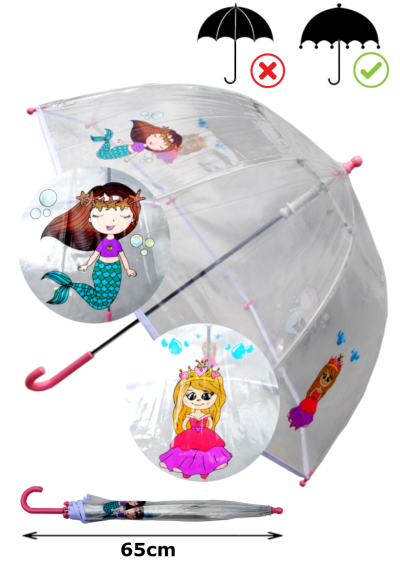 Cool Mermaids and Princesses Dome Kids Umbrella - Strong Windproof Panoramic Design - Fiberglass Ribs - Children Safe Tips - White Trim Canopy - Pink Handle and Tips - Clear