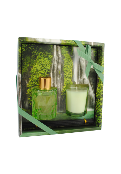 THE LONDON FRAGRANCE STORE - Paradise Found - Luxury Scented Candle + Reed Diffuser Set - Quality Fragrance Oil - Lavender Forest - Our Clever Wax Formula Lasts Longer - Quality Cotton Candle Wick
