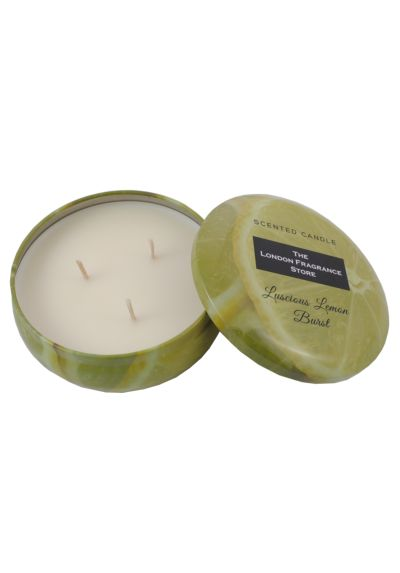 THE LONDON FRAGRANCE STORE - Luxury Scented 3 Wick Candle - High Quality Fragrance Oil - Luscious Lemon Burst - Our Clever Wax Formula Lasts Longer - High Quality Cotton Wick - 107mm Diameter Yellow