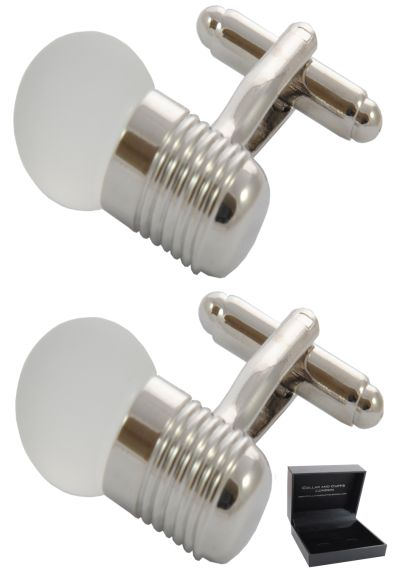 PREMIUM Cufflinks WITH PRESENTATION GIFT BOX - High Quality - Edison Screw Light bulb  - Electrical Electrician Engineer - Silver Colour
