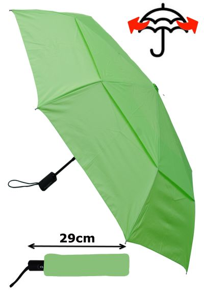 Windproof - COMPACT YET STRONG - Reinforced Frame With Fiberglass - StormProtector Small Folding Umbrella - Vented Double Canopy Regulates Gusts - Auto Open Close Lime Green