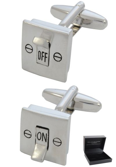 PREMIUM Cufflinks WITH PRESENTATION GIFT BOX - High Quality - Electric Light Switch - On and Off - Electrician - DIY - Silver Colour