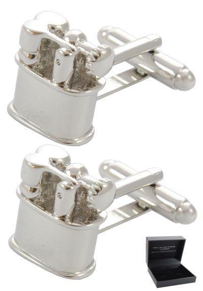 PREMIUM Cufflinks WITH PRESENTATION GIFT BOX - High Quality - Lighter - Camping Outdoor Classic Design BBQ Fire - Silver Colour