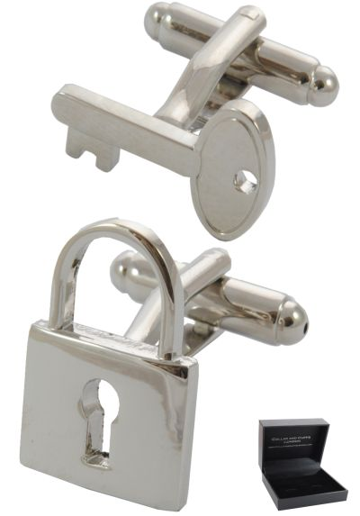 PREMIUM Cufflinks WITH PRESENTATION GIFT BOX - High Quality - Padlock and Key - Lock Locksmith Love - Key to the Door - Silver Colour