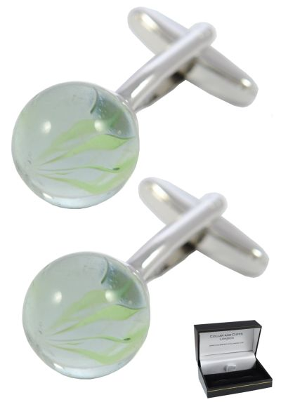 PREMIUM Cufflinks WITH PRESENTATION GIFT BOX - High Quality - Classic Retro Marbles Transparent Cufflinks - Brass Back - Game - Green and Silver Colours