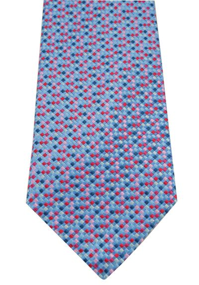 HIGH QUALITY Handmade Woven Tie - 100% Pure Silk - A Multicoloured Tie With Personality - Sky Blue, Pink, Grey and Red Mini Squares